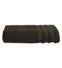 S9home by Seasons Chocolate Brown Cotton Plain & Stripes Bath Towel