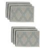 S9home by Seasons Premium Quality 6 Seater Aqua Polyester Table Placemats with Border - Set of 6