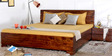 Tulsa Queen Bed with Storage in Provincial Teak Finish by Woodsworth