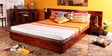 Elkhorn Queen Size Bed with Bed Side Tables in Honey Oak Finish by Woodsworth