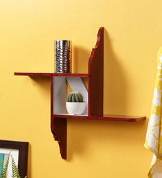 Crafts Land Red MDF Hand Painted Square Shaped Modern Art Wall Shelf