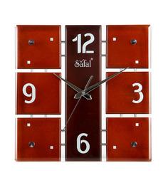 Safal Quartz Brown MDF 12 X 12 X 2 Inch Wall Clock