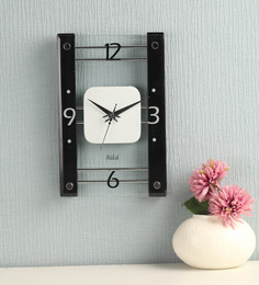 Safal Quartz Rectangular Black & White Clock MDF Wall Clock