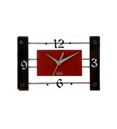 Safal Quartz Rectangular Red & Black  MDF Wall Clock