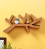 Crafts Land Brown MDF Hand Painted Branch Shaped Wall Self