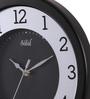 Safal Quartz Black MDF 13.5 Inch Round Glass Effect Wall Clock