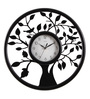 Safal Quartz Black MDF 16 Inch Round Tree & Sparrow Aesthetic Look Wall Clock