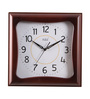 Safal Quartz Brown MDF 14 x 2.5 x 14 Inch Solid Square Look in Heavy Cabinet Wall Clock