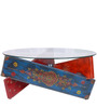 Praphulla Hand Painted Coffee Table with Round Glass by Mudramark