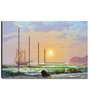 Hashtag Decor Sailboat against a Sea Sunset Engineered Wood 30 x 20 Inch Framed Art Panel