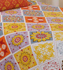 Salona Bichona Orange Cotton Floral Bed Sheet Set (with Pillow Cover)
