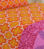 Salona Bichona Orange Cotton Abstract Bed Sheet Set (with Pillow Cover)