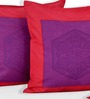 Salona Bichona Pink Cotton 16 x 16 Inch Abstract Cushion Covers - Set of 5