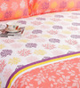 Salona Bichona Red 100% Cotton Queen Size Bedsheet - Set of 3