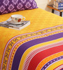 Salona Bichona Yellow & Purple Cotton Abstract Bed Sheet Set (with Pillow Cover)