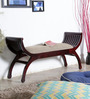 William Elongated Upholstered Bench in Passion Mahogany Finish by Amberville