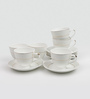 Sanjeev Kapoor Allure Collection Bone China 140 ML Cup & Saucer - Set of 6