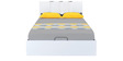Scoop High Gloss King Bed with Hydraulic Storage in White Colour by @home