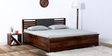 Clancy Hydraulic Queen Bed with Hydraulic Storage in Provincial Teak Finish by Woodsworth