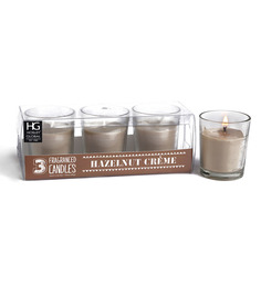 Hosley Hazelnut Scented Glass Candle - Set Of Three