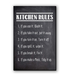 Seven Rays Black Fibre Board Kitchen Rules Fridge Magnet