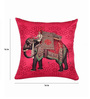 SEJ by Nisha Gupta Pink Silk 16 x 16 Inch Cushion Cover