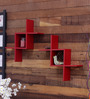 Selene Contemporary Wall Shelves Set of 2 in Red by CasaCraft