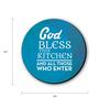 Seven Rays Blue & White Fibre Board God Bless This Kitchen Fridge Magnet