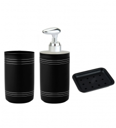 SG Home Bath Set Of 3 (Matt Black With 3+3 Lines) (Tumbler, Liquid Soap Dispenser & Soap Dish)