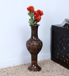 Shagun Arts Brown Sheesham Wood Vase - 1589378