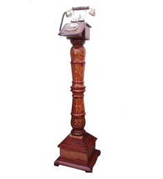 Shah Kreations Pedestal Brown Sheesham Wood Telephone