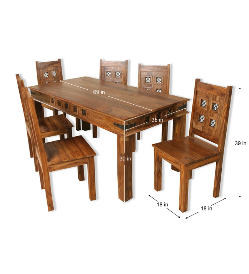 Rajputana jali block design dining set for six by for Wooden dining table chairs