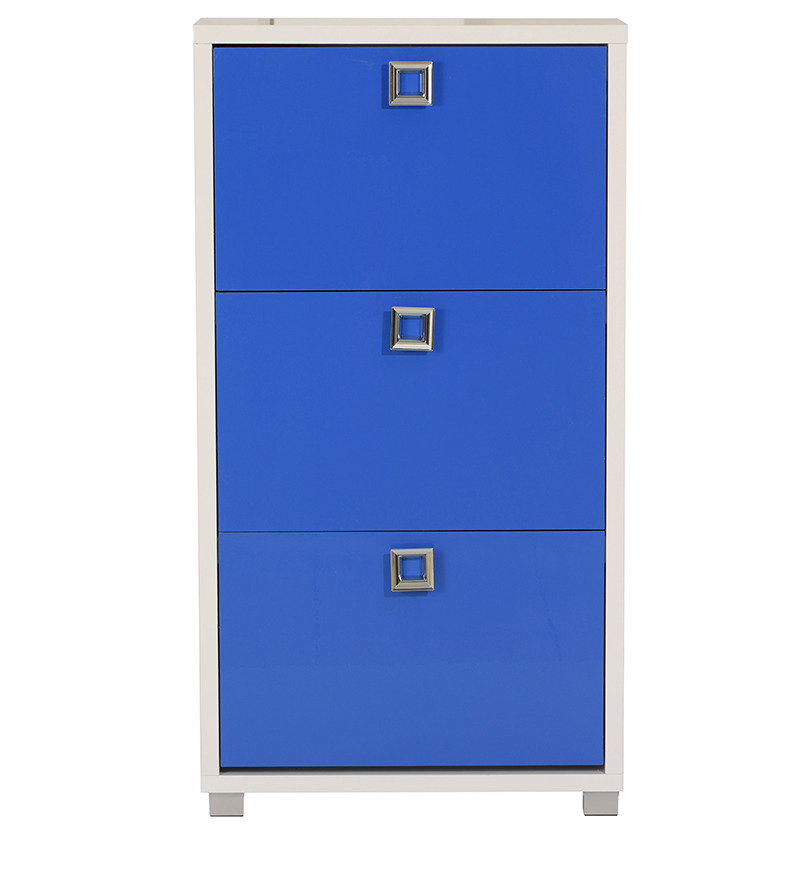 Buy Enichiro Three Door Shoe Cabinet In High Gloss Blue