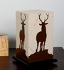 Shady Ideas Brown And White Acrylic & Handmade Paper Table Lamp