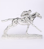 Shaze Silver Resin with Silver Plating Horse Racing Male Jockey Showpiece