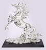 Shaze Silver Resin with Silver Plating Rearing Unicorn Figurine