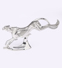Shaze Silver Resin with Silver Plating Running Cheetah Showpiece