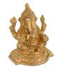 ShopEndHere Gold Brass Ganesha Beautiful Idol