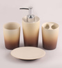 Shresmo Beige and Brown Polyresin Bathroom Accessories - Set of 5