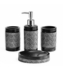 Shresmo Black Polyresin Recto Bathroom Set - Set of 4