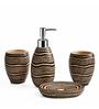 Shresmo Brown Polyresin Recto 4-piece Bathroom Accessory Set