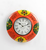 ShriNath Multicolour MDF 11.5 Inch Round Modern Handmade Handicraft Wall Clock