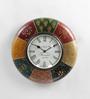 ShriNath Multicolour MDF 12 Inch Round Antique Handicraft Wall Clock
