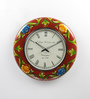ShriNath Multicolour MDF 18 Inch Round Painted Handicraft Wall Clock