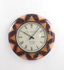 ShriNath Multicolour MDF 18 Inch Round  Handicraft Wall Clock
