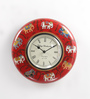 ShriNath Red MDF 11.5 Inch Round Elephant Handicraft Wall Clock