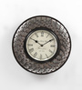 ShriNath Silver Glass and MDF 11.5 Inch Round Capsule Style Handicraft Wall Clock