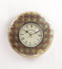 ShriNath Silver Metal & MDF 11.5 Inch Round Meenakari Handicraft Wall Clock