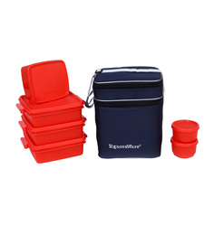 Signoraware Red Plastic Family Pack Lunch Box With Bag - Set Of 6