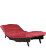 Single Sofa Futon with Red Lines in Walnut Finish by ARRA